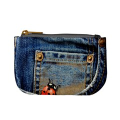 Blue Jean Lady Bug Coin Change Purse