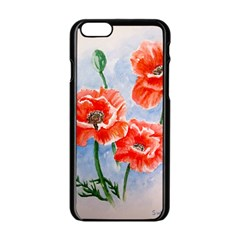 Poppies Apple Iphone 6/6s Black Enamel Case by ArtByThree
