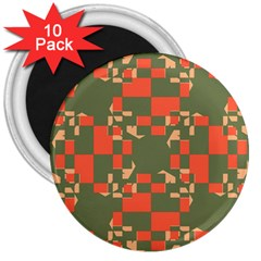 Green Orange Shapes 3  Magnet (10 Pack) by LalyLauraFLM