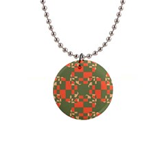 Green Orange Shapes 1  Button Necklace by LalyLauraFLM