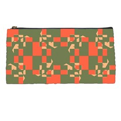 Green Orange Shapes Pencil Case by LalyLauraFLM