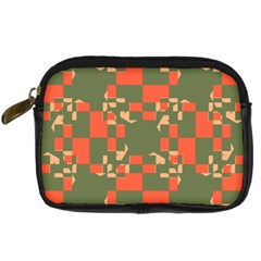 Green Orange Shapes Digital Camera Leather Case by LalyLauraFLM