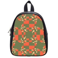 Green Orange Shapes School Bag (small) by LalyLauraFLM