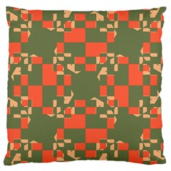 Green Orange Shapes Large Cushion Case (two Sides) by LalyLauraFLM