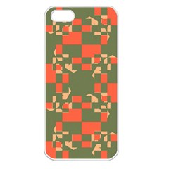 Green Orange Shapes Apple Iphone 5 Seamless Case (white) by LalyLauraFLM