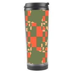 Green Orange Shapes Travel Tumbler by LalyLauraFLM