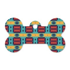 Blue Red And Yellow Shapes Pattern Dog Tag Bone (two Sides) by LalyLauraFLM