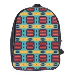 Blue Red And Yellow Shapes Pattern School Bag (large) by LalyLauraFLM