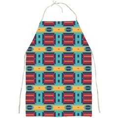 Blue Red And Yellow Shapes Pattern Full Print Apron by LalyLauraFLM