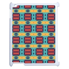 Blue Red And Yellow Shapes Pattern Apple Ipad 2 Case (white) by LalyLauraFLM