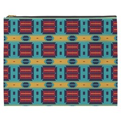Blue Red And Yellow Shapes Pattern Cosmetic Bag (xxxl) by LalyLauraFLM