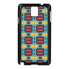Blue Red And Yellow Shapes Pattern Samsung Galaxy Note 3 N9005 Case (black) by LalyLauraFLM