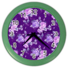 Vintage Roses Purple Color Wall Clocks by MoreColorsinLife