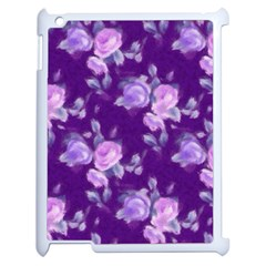 Vintage Roses Purple Apple Ipad 2 Case (white) by MoreColorsinLife