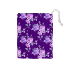 Vintage Roses Purple Drawstring Pouches (medium)  by MoreColorsinLife