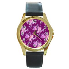 Vintage Roses Pink Round Gold Metal Watches