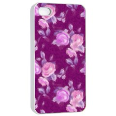 Vintage Roses Pink Apple Iphone 4/4s Seamless Case (white) by MoreColorsinLife