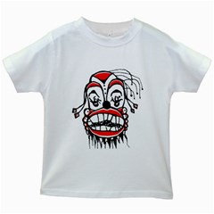 Dark Clown Drawing Kids White T-shirts by dflcprints