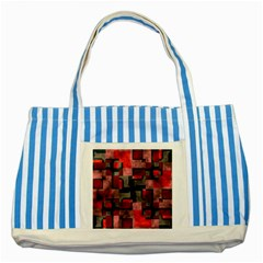 Textured Shapes Striped Blue Tote Bag by LalyLauraFLM