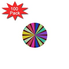 Rays In Retro Colors 1  Mini Button (100 Pack)
