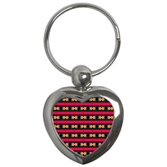 Rhombus And Stripes Pattern Key Chain (heart)
