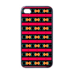 Rhombus And Stripes Pattern Apple Iphone 4 Case (black)