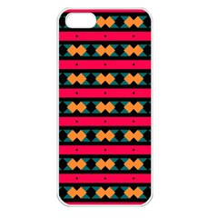 Rhombus And Stripes Pattern Apple Iphone 5 Seamless Case (white) by LalyLauraFLM