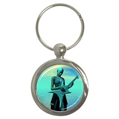 Sad Guitar Key Chains (round)  by icarusismartdesigns