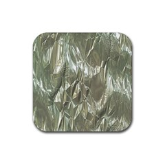 Crumpled Foil Rubber Square Coaster (4 Pack)  by MoreColorsinLife