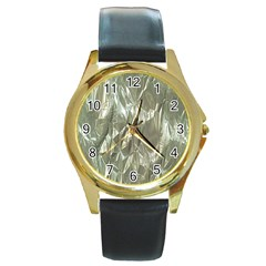 Crumpled Foil Round Gold Metal Watches