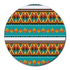 Tribal Design In Retro Colors Round Mousepad by LalyLauraFLM