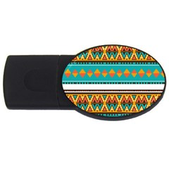 Tribal Design In Retro Colors Usb Flash Drive Oval (2 Gb) by LalyLauraFLM