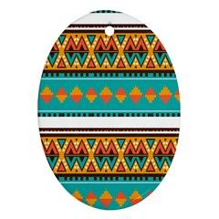 Tribal Design In Retro Colors Oval Ornament (two Sides) by LalyLauraFLM