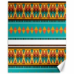 Tribal Design In Retro Colors Canvas 11  X 14  by LalyLauraFLM