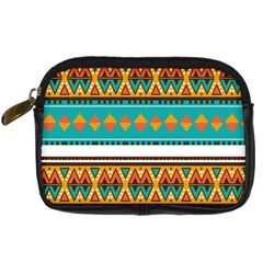 Tribal Design In Retro Colors Digital Camera Leather Case