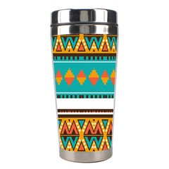 Tribal Design In Retro Colors Stainless Steel Travel Tumbler by LalyLauraFLM