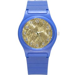 Crumpled Foil Golden Round Plastic Sport Watch (s) by MoreColorsinLife