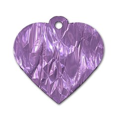 Crumpled Foil Lilac Dog Tag Heart (two Sides)