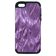 Crumpled Foil Lilac Apple Iphone 5 Hardshell Case (pc+silicone) by MoreColorsinLife