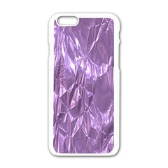 Crumpled Foil Lilac Apple Iphone 6/6s White Enamel Case by MoreColorsinLife