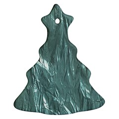 Crumpled Foil Teal Christmas Tree Ornament (2 Sides)