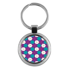 Cubes In Honeycomb Pattern Key Chain (round) by LalyLauraFLM