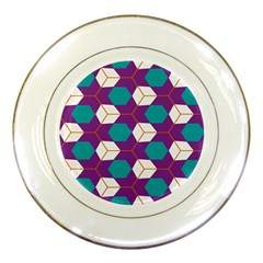 Cubes In Honeycomb Pattern Porcelain Plate by LalyLauraFLM