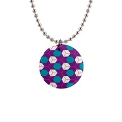 Cubes In Honeycomb Pattern 1  Button Necklace by LalyLauraFLM