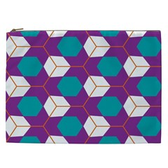 Cubes In Honeycomb Pattern Cosmetic Bag (xxl)