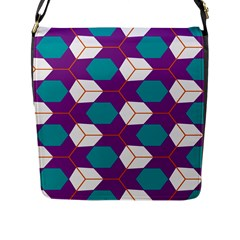 Cubes In Honeycomb Pattern Flap Closure Messenger Bag (l) by LalyLauraFLM