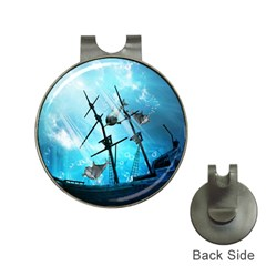 Awesome Ship Wreck With Dolphin And Light Effects Hat Clips With Golf Markers