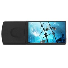 Awesome Ship Wreck With Dolphin And Light Effects Usb Flash Drive Rectangular (4 Gb)  by FantasyWorld7