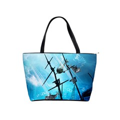 Awesome Ship Wreck With Dolphin And Light Effects Shoulder Handbags by FantasyWorld7