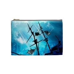 Awesome Ship Wreck With Dolphin And Light Effects Cosmetic Bag (medium)  by FantasyWorld7